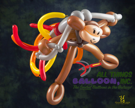 balloon artist - monkey with jet pack